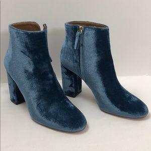 Aquazzura blue velvet booties